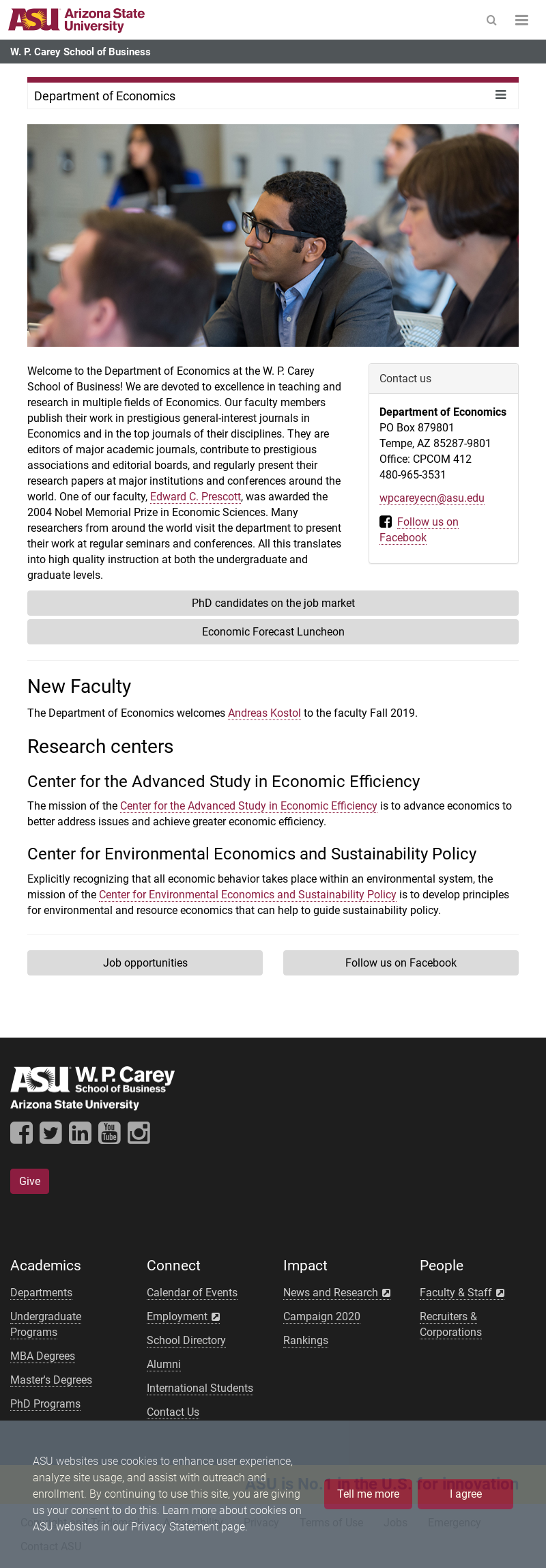 Arizona State University W. P. Carey School of Business PhD in Economics