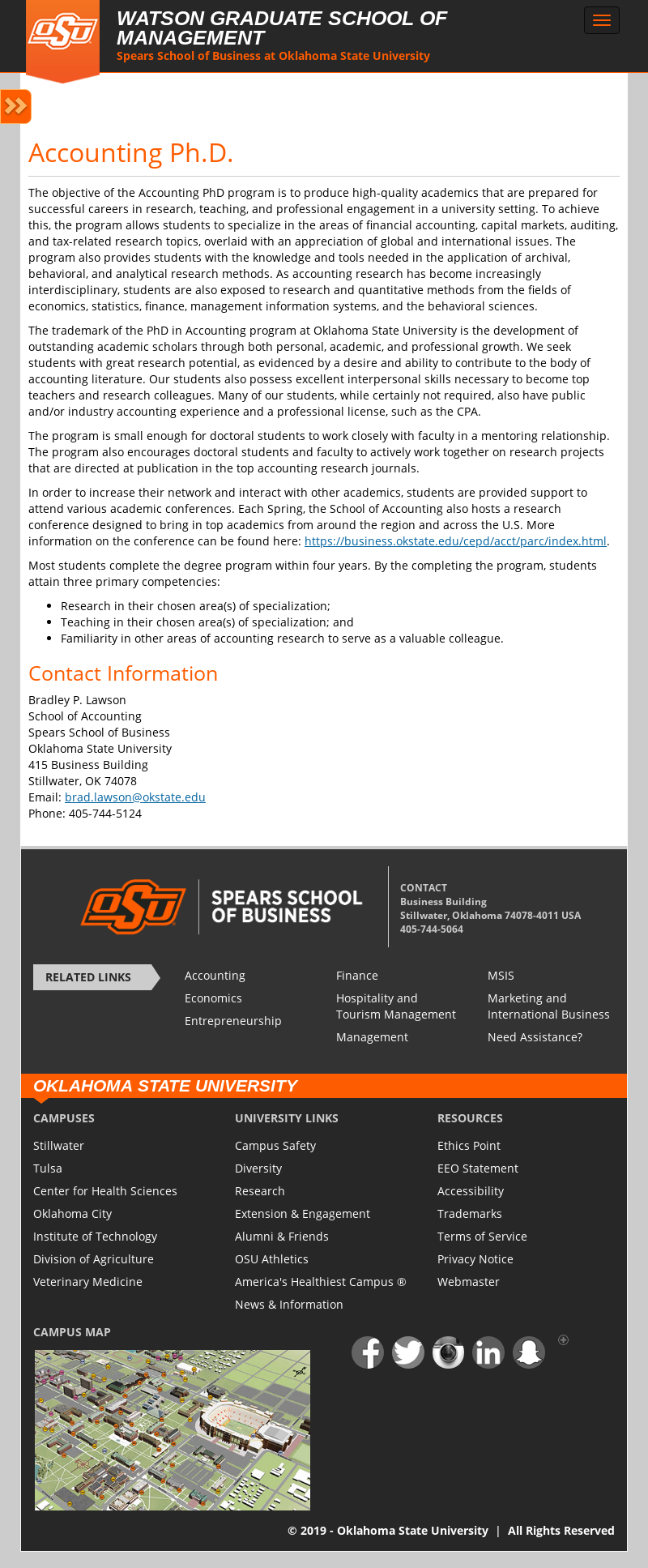 Oklahoma State University Spears School of Business PhD in Accounting