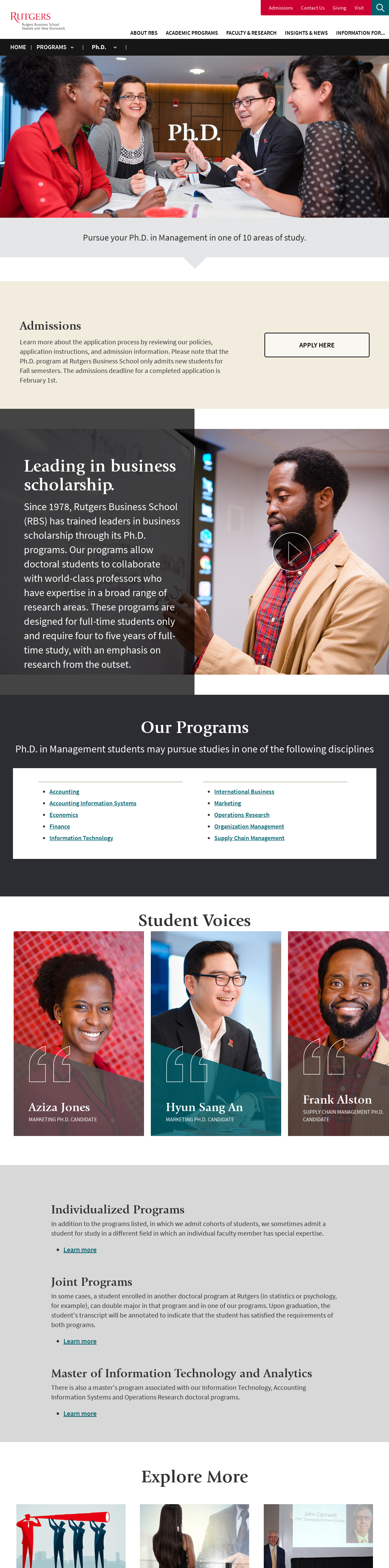 Rutgers-The State University Rutgers Business School Graduate Programs: Newark and New Brunswick PhD, Management
