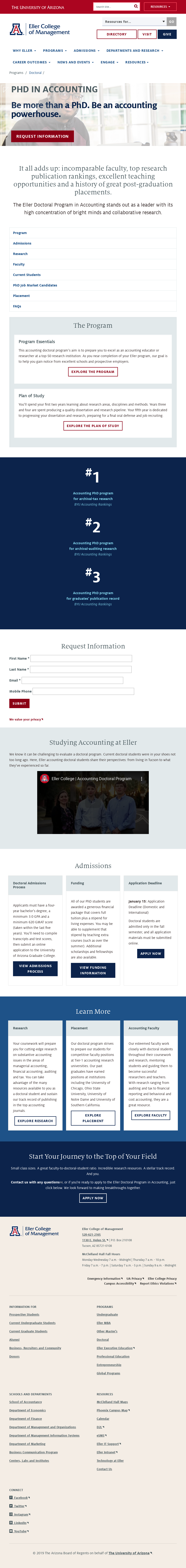University of Arizona The Eller College of Management PhD in Management - Accounting