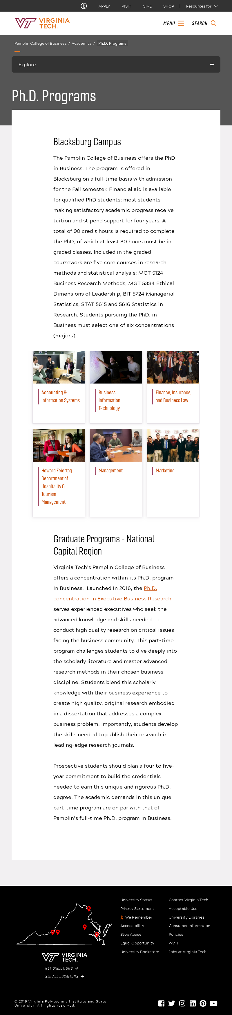 Virginia Polytechnic Institute and State University Pamplin College of Business PhD Programs